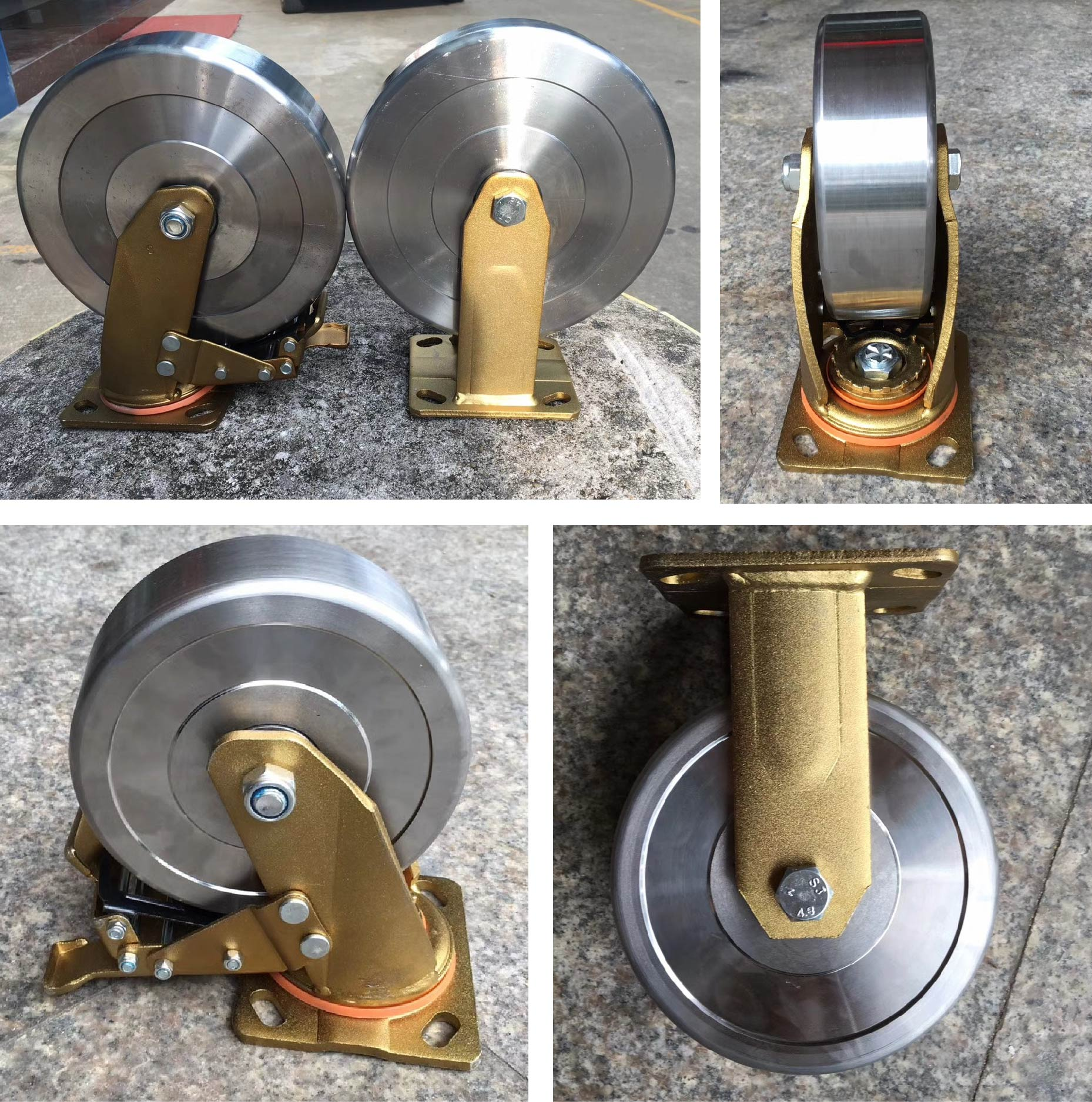 Heavy duty forged steel caster wheel golden bracket