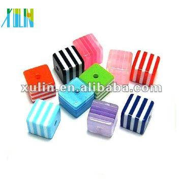 wholesale multicolor stripe cube resin beads