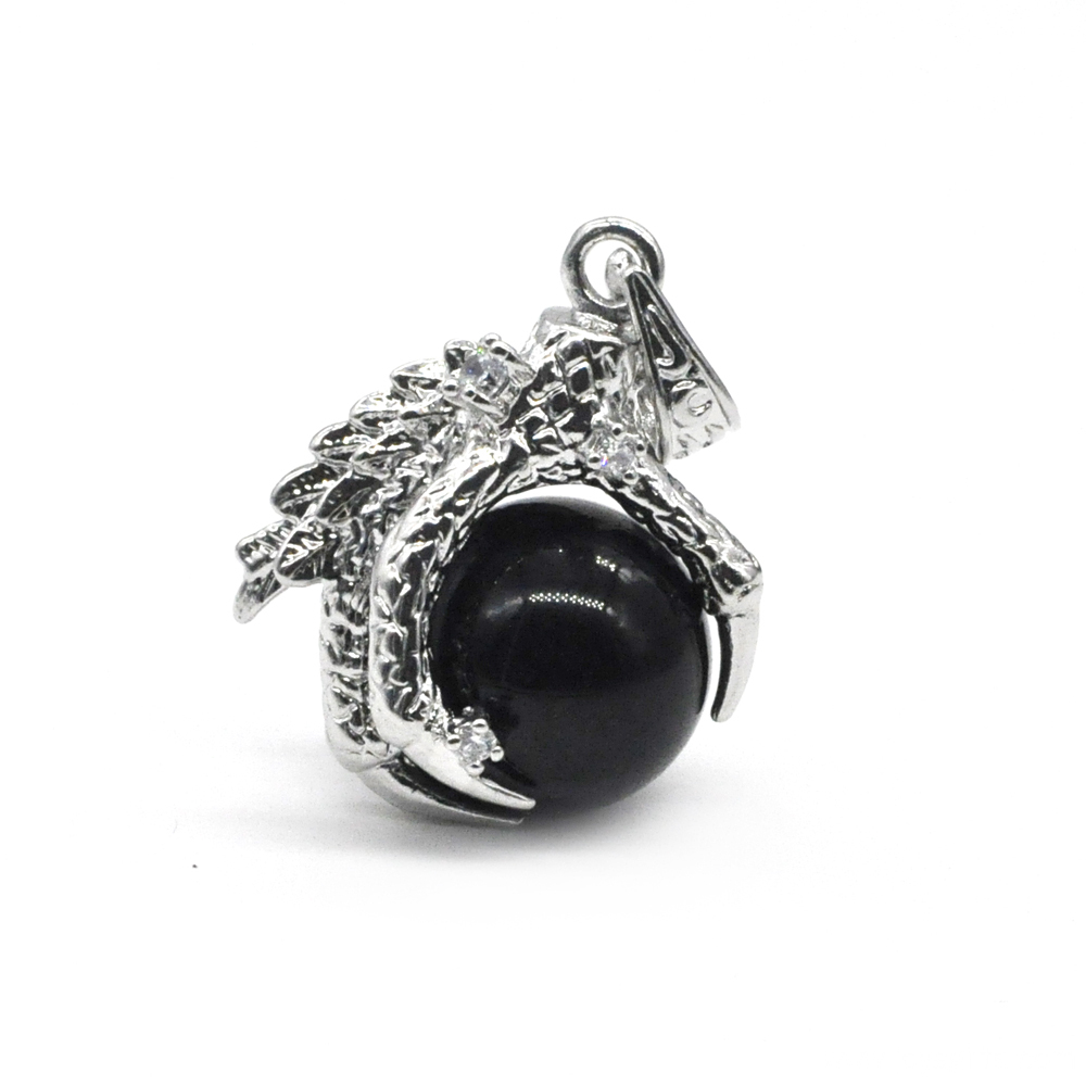 925 Sterling Silver Black Onyx 15MM Sphere Dragon Claw Pendant Jewelry