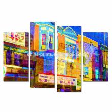 Arte de la pared de la lona del paisaje urbano de Philadelphia / impresión abstracta de la lona de Giclee de la calle / ilustraciones enmarcadas para la etiqueta de la pared