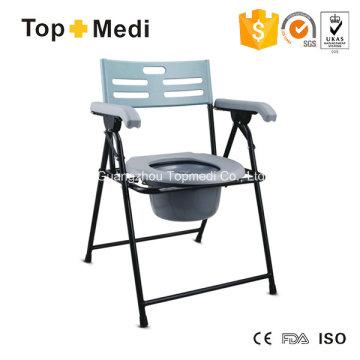 Cadeira cômoda dobrável de aço Topmedi com apoio de braço e encosto