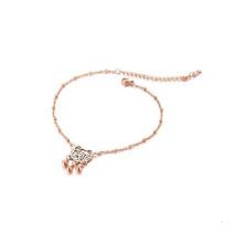 Longevity lock titanium steel chain bracelet,plated rose gold chain bracelet for ankle