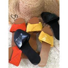 Wholesale Moire Design Casual Womens Fashion Sexy Candy Slide Sandals Flat Sandal Women Shoes