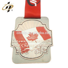 Antique bronze zinc alloy canada custom BJJ sports medal with enamel