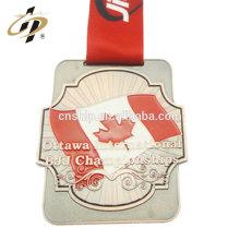 Antique bronze liga de zinco canadá personalizado BJJ medalha de esportes com esmalte