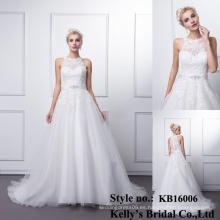 El neckline del amor de la llegada rebordeó los vestidos de boda del aliexpress del vestido de bola