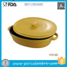 Plato de la hornada de cerámica del utensilio de cocina de la venta caliente con el Cookware de la tapa