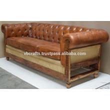 Sofá de couro vintage pé de madeira,