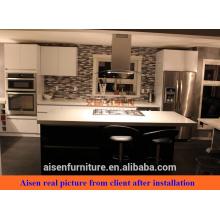 Echtes Bild aus Kanada Klient schwarz gemischte weiße Farbe glänzende Lack Küche Schrank