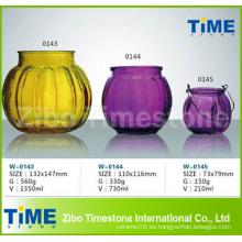 Hermoso vaso de vidrio de color rociado Jar