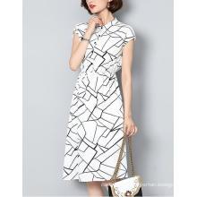 Summer Latest Lines Pattern Shirt Collar Ladies Dress