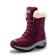 2021 Winter new product fashion women warm windproof chunky hell boots ladies lace up plush casual shoes