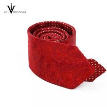 Пользовательские Оптовая Узкие Шелковый Галстук Красный Свадьбы Сплетенный Мужская Пейсли Галстук