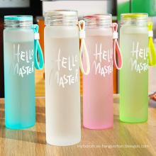 Botella de agua de cristal del color del arco iris de alta calidad con el tenedor
