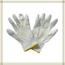 Luva revestida PU dedo da mão respirável