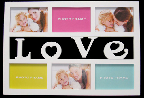 white 6 openings wall art multiple picture frame with letter love china manufacturer - Multiple Image Frame