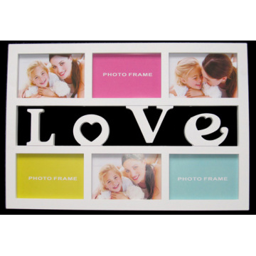 White 6 Openings Wall Art Multiple Picture Frame With Letter Love ...