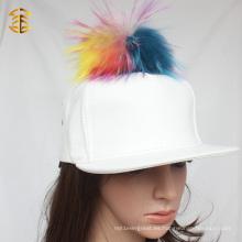 Casquillo blanco de la alta calidad Sombrero de encargo de encargo del Snapback del cuero blanco con la piel Pom Pom