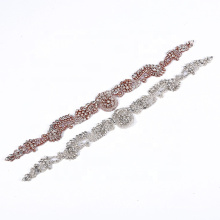 fashional bling bling rose gold iron on beaded applique designs RH998