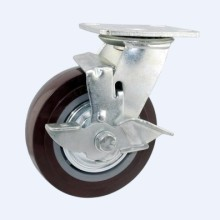 H1 Heavy Duty Type Double Ball Bearing Red PU Side Brake Type Industrial Caster (
