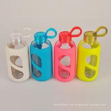 Benutzerdefinierte Spülmaschinen-sichere Fruchtglas-Wasserflasche mit Silikonhülse