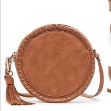 Tassel pendant braided leather round shoulder bag