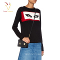 Pull en laine tricoté Cachemire mode femme avec yeux