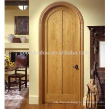 Puerta de entrada superior arqueada interior de madera maciza de pino aliso nudoso de roble rojo canadiense