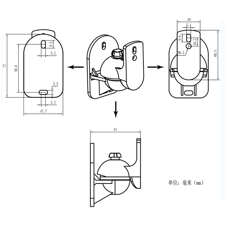 speaker wall mount sb03 size drawing