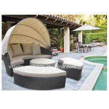 Прогулка на открытом воздухе Sun Lounger Canopy Плетеная терраса с садовой ротанговой дорожкой