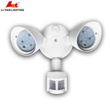 20W Dual-Head Motion-ativado Luz de segurança exterior LED com montagem na parede