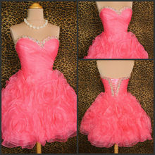 New Arrival Real Photo Sweetheart Organza Beaded Ruffles Ball Gown Short Mini Cocktail Dress