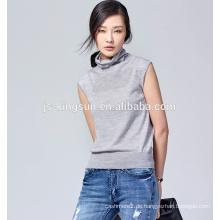 JS-11012 Drei Farben Auf Lager Turtle-Neck Sleeveless Wolle Pullover Design für Frauen