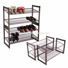 Estante de zapato apilable de metal de 2 niveles, organizador de calzado ajustable, plano e inclinado