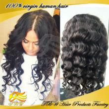 Made in China 100% virgin brazilian hair glueless silk top full lace wig wavy