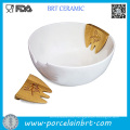 White Hands on Server Porcelain Salad Bowl