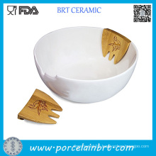 White Ceramic Salad Bowl Wihth Bamboo Severs