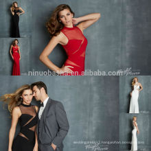 2014 Sexy See Through Long Prom Dress O-Neck Sleeveless Mesh Cutout Keyhole Back Jersey Sheath Evening Gown New Arrival NB0711