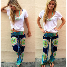 2015 Women Fashionable Middle Waist Printed Flowers Casual Pants (50660)