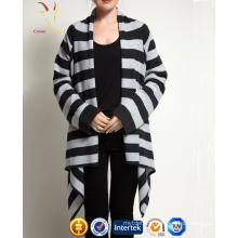 Women's Striped Open Front Long Cardigan Merino 100% Cashmere Wool Shawl