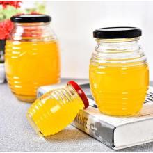 100ml-730ml Glass Round Shape Honey Jars with Honeycomb and Screw Thread Pattern, Glassware Metal Cap, Jam Jars, Glassware