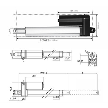 8mm/s  push pull linear actuator 12v 24V