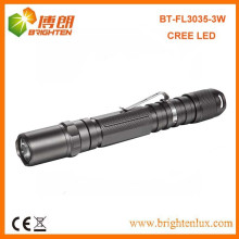 Factory Supply OEM New Bright 2AA cell Battery Operated Aluminum Metal 3watt Cree led Portable Torch with Clip