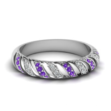 Anillo lleno de la joyería de la boda de la plata de la piedra