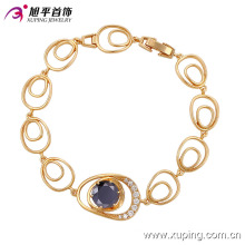 Elegant 18k Gold-Plated CZ Diamond Fashion Imitation Jewelry Bracelet (74182)