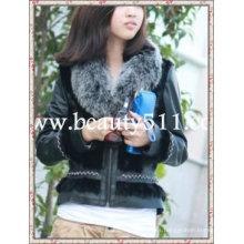 Fah006 OEM venta al por mayor de prendas de vestir de piel de pieles de ropa de conejo de piel de visón de piel de pieles chaqueta de pieles