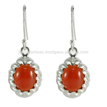 Natural Red Onyx Gemstone 925 Sterling Silver Drop Earrings
