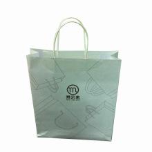 Saco de compras de papel Kraft branco para promoção