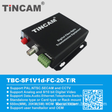 1 Video 1 Data Fiber Optical Converter 20km, Video Transmitter and Receiver for Safe and Security Application, Video to Ethernet Converter (TBC-SF-IVId)