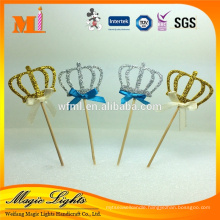 Gold Color Crown with Toothpick Cake Toppers for Birthday Cake Decoration